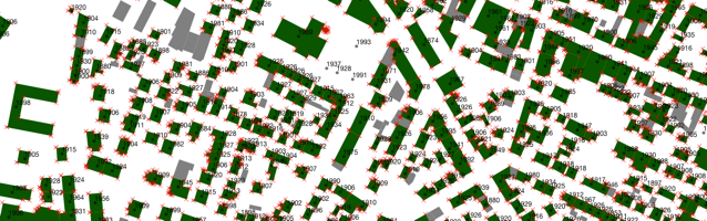 A screenshot of part of the map being edited in QGIS